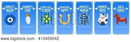 Banners Good Luck Charms: Maneki Neko, Horseshoe, Four-leaf Clover, Dala Horse, Nazar Amulet, Hamsa,