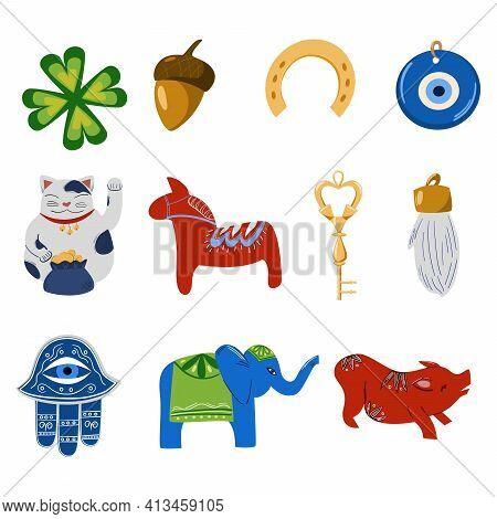 Talismans, Symbols, Amulets Of Good Luck. Symbols Of Good Fortune, Prosperity And Success. Horseshoe