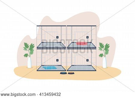 Veterinary Cages 2d Vector Web Banner, Poster