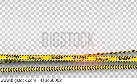 Black And Yellow Stripes Set. Warning Tapes. Danger Signs. Caution , Barricade Tape, Do Not Cross, P