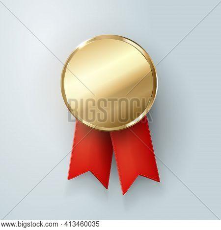 Champion Gold Medal. Winner Trophy, Golden Medal , Sport , First, Best , Red Ribbon , Coin , Prize,