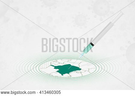 Dr Congo Vaccination Concept, Vaccine Injection In Map Of Dr Congo. Vaccine And Vaccination Against