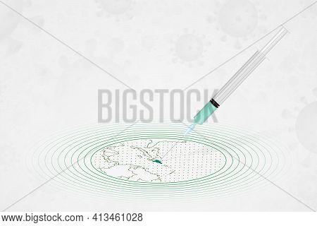 Dominican Republic Vaccination Concept, Vaccine Injection In Map Of Dominican Republic. Vaccine And