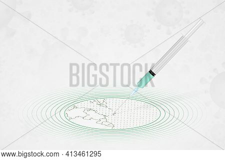 Saint Vincent And The Grenadines Vaccination Concept, Vaccine Injection In Map Of Saint Vincent And