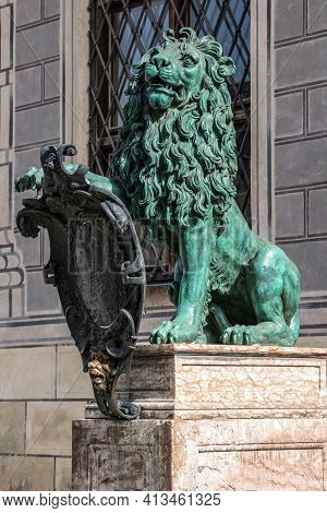 Bavarian Lion Statue At Munich Alte Residenz Palace In Odeonplatz. Residenz Royal Palace Of The Bava
