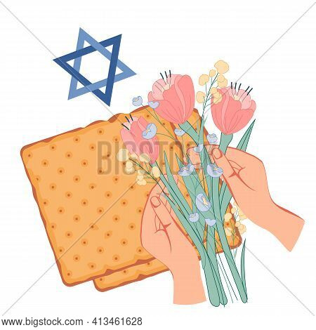 Jewish Passover Banner Or Greeting Card With Hands Holding Spring Flowers. Pesach And Passover Holid