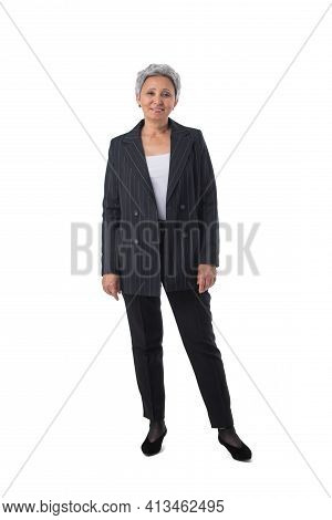 Full Length Portrait Of Happy Beautiful Mature Asian Woman Isolated On White Background, Business Pe