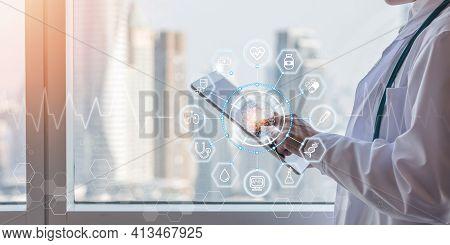 Health Tech Medical Science Ai Technology, Innovative Iot Global Healthcare With Doctor On Telehealt
