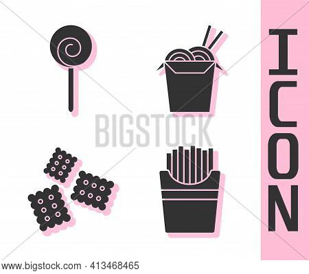 Set Potatoes French Fries In Box, Lollipop, Cracker Biscuit And Asian Noodles And Chopsticks Icon. V