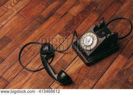 Retro Telephone Technology Antique Communication Nostalgia Wood Floor