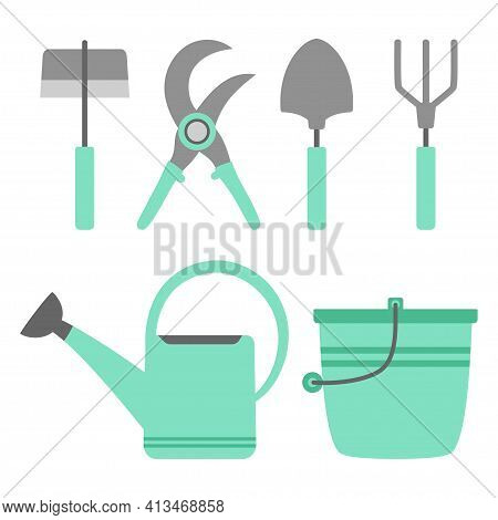 Gardening Tools Set Isolated On White Background, Bucket, Garden Shovel And Hoe, Secateurs, Rake And