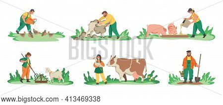 Agriculture Workers. Cartoon Farmers Feeding Domestic Animals, Planting Crops And Flowers. Men And W