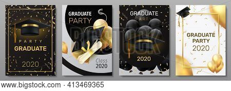 Graduation Cards. Invitation And Congratulation Banners. Greeting Postcards With Black Caps And Degr
