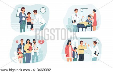 Family Doctor. Medical Insurance And Health Care. Parents With Kids Visiting Pediatrician Or Treatin
