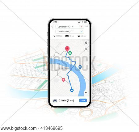 Phone Map Ui. Mobile Application With Transport Location And Route Direction. Smartphone Navigation
