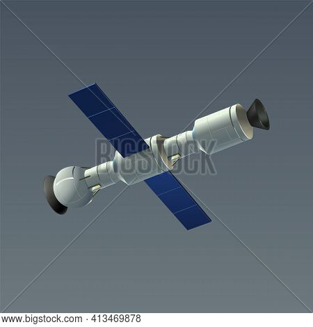 Space Automatic Satellite. Realistic 3d International Orbital Station Drifting In Cosmos. Connected