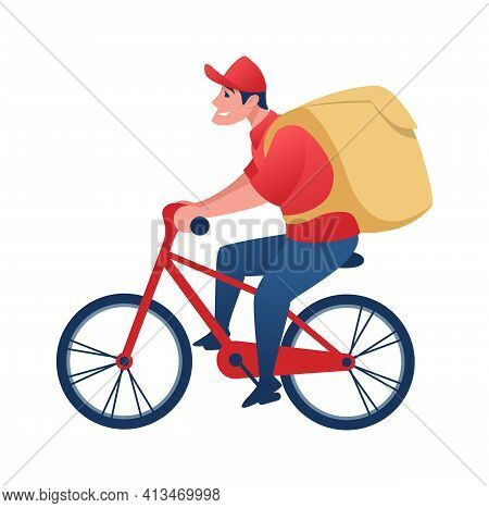 Food Delivery Worker On Bicycle. Cartoon Man Carrying Order To Client. Young Character With Backpack