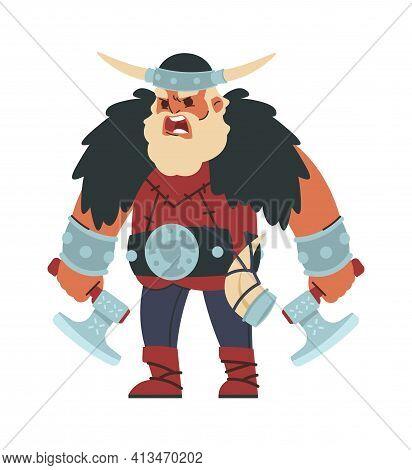 Viking. Cartoon Scandinavian Warrior. Shouting Strong Man With Battle Axes And Horn. Muscular Berser