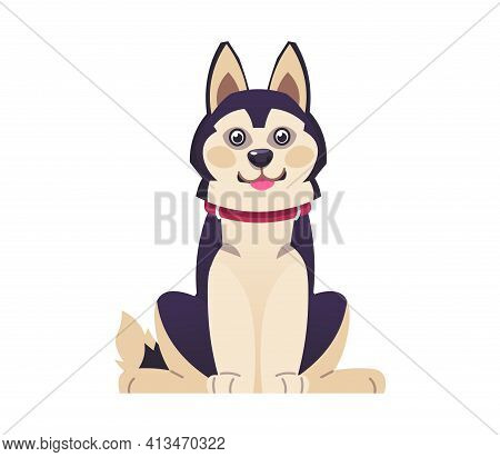 Cartoon Dog. Happy Puppy In Red Collar. Isolated Domestic Animal Sits. Pet Of Hunting Or Guard Breed