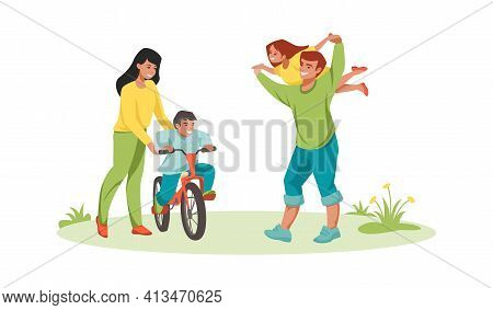 Family Activities. Parents And Children Walking Together. Happy Father Playing With Daughter, Holdin