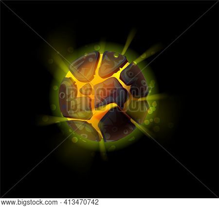 Fantasy Asteroid. Cartoon Planet With Fiery Surface. Fictional Glowing Magmatic Galactic Object, Lig