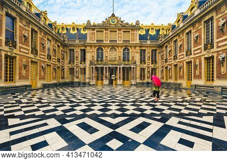 June 18, 2015: Marble Court And Facades Of The First Chateau In Palace Of Versailles, Paris, France.