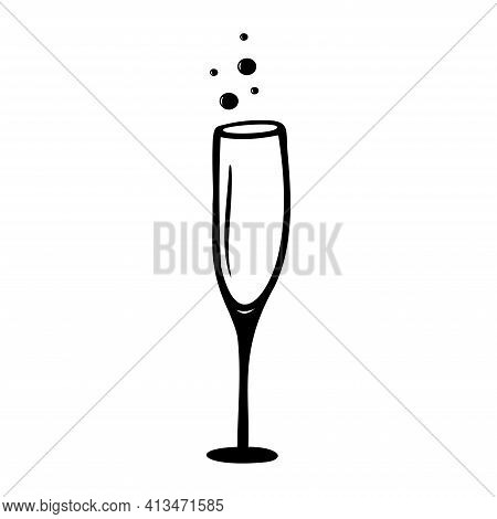 Hand Drawn Champagne Glass Isolated On A White Background. Celebration Elements. Doodle, Simple Outl