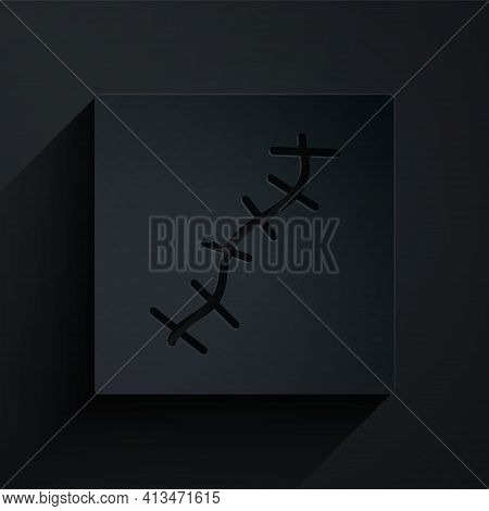 Paper Cut Scar With Suture Icon Isolated On Black Background. Paper Art Style. Vector