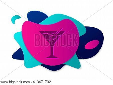 Color Martini Glass Icon Isolated On White Background. Cocktail Icon. Wine Glass Icon. Abstract Bann