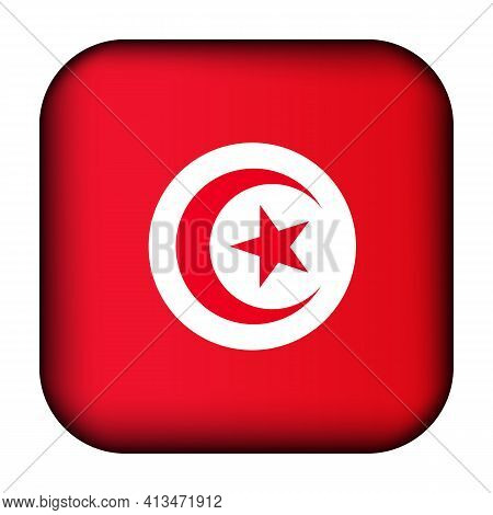 Glass Light Ball With Flag Of Tunisia. Squared Template Icon. Tunisian National Symbol. Glossy Reali