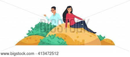 Rich People. Vector Couple Man And Woman Sitting On Gold Mount And Bunch Of Money. Financial Success