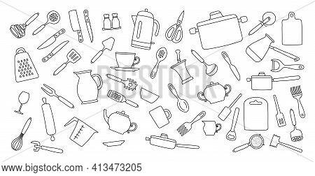 Kitchenware Sketch Set. Doodle Line Vector Kitchen Utensils, Tools And Cutlery.kettle, Saucepan, Cez