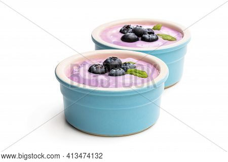Fresh  Yoghurt With Blueberry In Ceramic Bowl Isolated On White