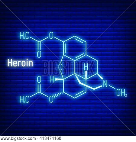 Heroin Concept Glow Neon Style Chemical Formula Icon Label, Text Font Vector Illustration, Isolated