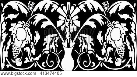 Sketch Ornament-motif Of The Vine. Grapes Are One Of The Oldest Symbols Of Fertility, Abundance And
