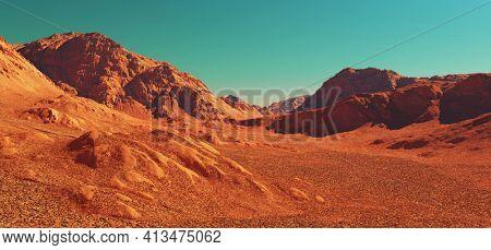 Mars planet landscape, 3d render of imaginary mars mountain terrain, science fiction illustration.