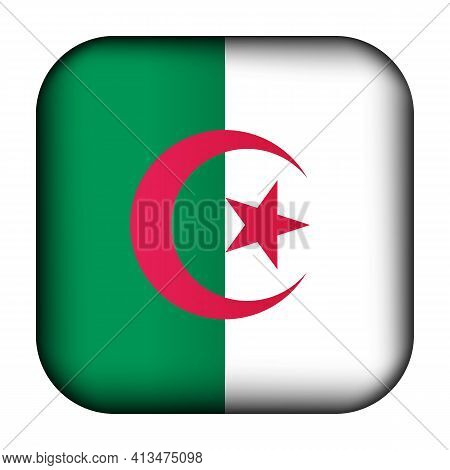 Glass Light Ball With Flag Of Algeria. Squared Template Icon. Algerian National Symbol. Glossy Reali