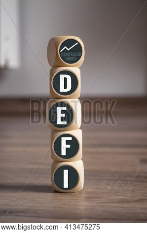 Cubes, Dice Or Blocks With Acronym Defi - Decentralized Finance On Wooden Background