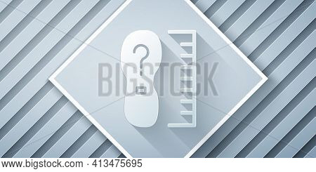 Paper Cut Square Measure Foot Size Icon Isolated On Grey Background. Shoe Size, Bare Foot Measuring.