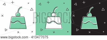 Set Pudding Custard With Caramel Glaze Icon Isolated On White And Green, Black Background. Vector