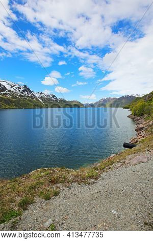 Fjord And Mountains At Sunny Summer Day At Hardangervidda National Park, Norway
