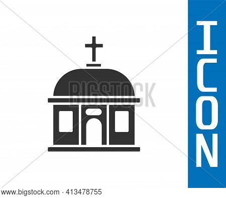 Grey Santorini Building Icon Isolated On White Background. Traditional Greek White Houses With Blue