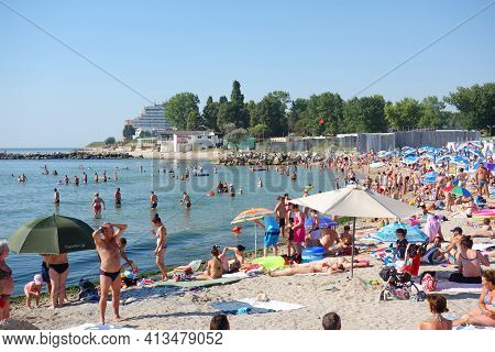 Beach At Black Sea, Full Of People At Summer. Costinesti Resort In Constanta County, Romania. Also C