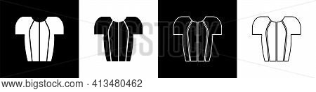 Set Cycling T-shirt Icon Isolated On Black And White Background. Cycling Jersey. Bicycle Apparel. Ve