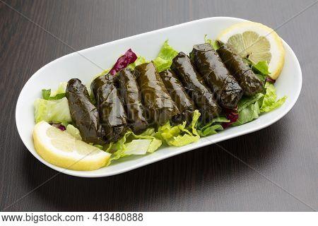 Stuffed Closeup Grape Leaves, Typical Lebanese Food.