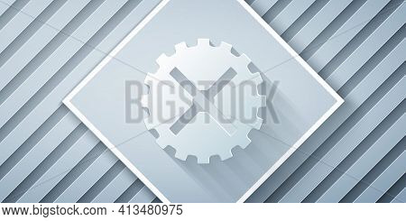 Paper Cut Bicycle Sprocket Crank Icon Isolated On Grey Background. Paper Art Style. Vector