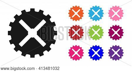 Black Bicycle Sprocket Crank Icon Isolated On White Background. Set Icons Colorful. Vector
