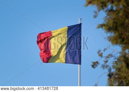 Romanian Flag Waving In The Wind. Romania`s Flag.. Romanian Flag Waving In The Sky. Romania`s Flag S