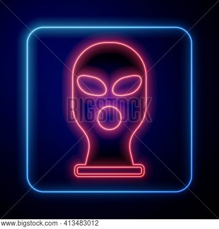 Glowing Neon Balaclava Icon Isolated On Black Background. A Piece Of Clothing For Winter Sports Or A