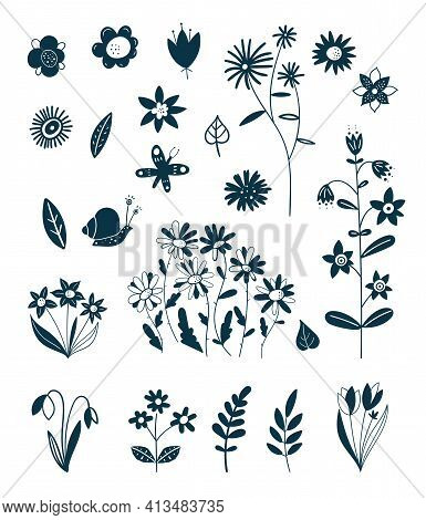 Decorative Elements Of Spring And Summer Plants. Easter Decoration. Silhouettes Of Flowers. Wildflow